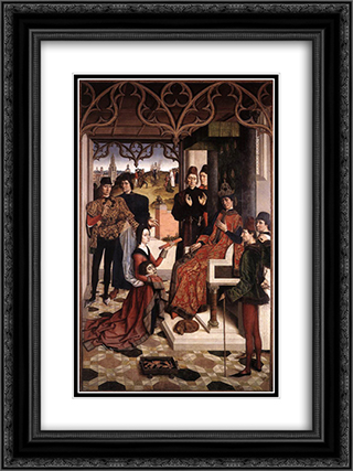 The Ordeal by Fire 18x24 Black or Gold Ornate Framed and Double Matted Art Print by Dirck Bouts