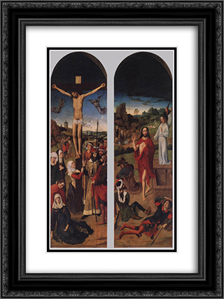 Passion Altarpiece (side wings) 18x24 Black or Gold Ornate Framed and Double Matted Art Print by Dirck Bouts