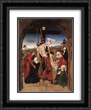 Passion Altarpiece (central) 20x24 Black or Gold Ornate Framed and Double Matted Art Print by Dirck Bouts
