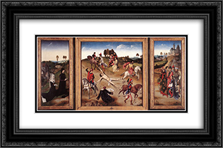 St Hippolyte Triptych 24x16 Black or Gold Ornate Framed and Double Matted Art Print by Dirck Bouts