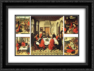 Altarpiece of the Holy Sacrament 24x18 Black or Gold Ornate Framed and Double Matted Art Print by Dirck Bouts