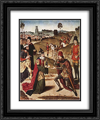 The Meeting of Abraham and Melchizedek 20x24 Black or Gold Ornate Framed and Double Matted Art Print by Dirck Bouts