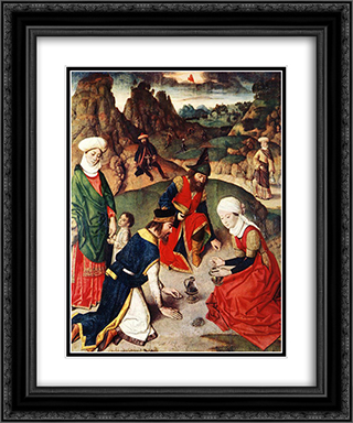 The Gathering of the Manna 20x24 Black or Gold Ornate Framed and Double Matted Art Print by Dirck Bouts
