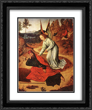 Prophet Elijah in the Desert 20x24 Black or Gold Ornate Framed and Double Matted Art Print by Dirck Bouts