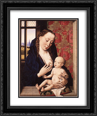 Mary and Child 20x24 Black or Gold Ornate Framed and Double Matted Art Print by Dirck Bouts