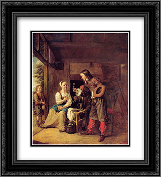 A Man Offering a Glass of Wine to a Woman 20x22 Black or Gold Ornate Framed and Double Matted Art Print by Pieter de Hooch