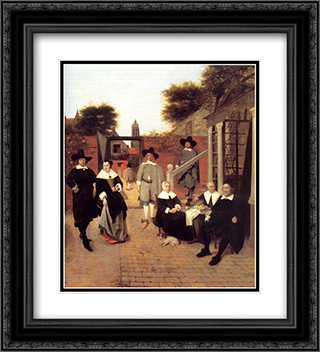 Portrait of a Family in a Courtyard in Delft 20x22 Black or Gold Ornate Framed and Double Matted Art Print by Pieter de Hooch