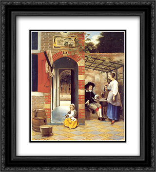 Figures Drinking in a Courtyard 20x22 Black or Gold Ornate Framed and Double Matted Art Print by Pieter de Hooch