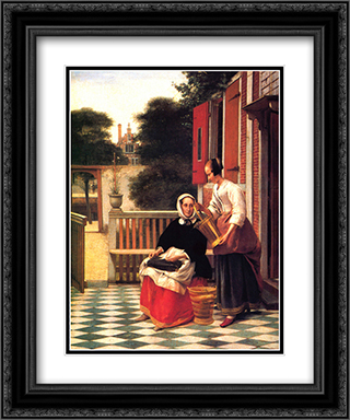 A Mistress and Her Servant 20x24 Black or Gold Ornate Framed and Double Matted Art Print by Pieter de Hooch