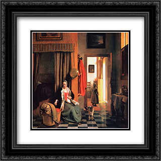 The Mother 20x20 Black or Gold Ornate Framed and Double Matted Art Print by Pieter de Hooch