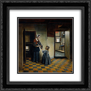 Woman with a Child in a Pantry 20x20 Black or Gold Ornate Framed and Double Matted Art Print by Pieter de Hooch