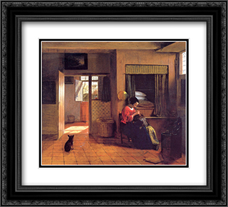 A Mother and Child with Its Head in Her Lap 22x20 Black or Gold Ornate Framed and Double Matted Art Print by Pieter de Hooch