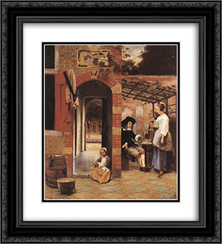 Drinkers in the Bower 20x22 Black or Gold Ornate Framed and Double Matted Art Print by Pieter de Hooch