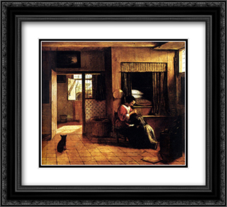 The Mother 22x20 Black or Gold Ornate Framed and Double Matted Art Print by Pieter de Hooch
