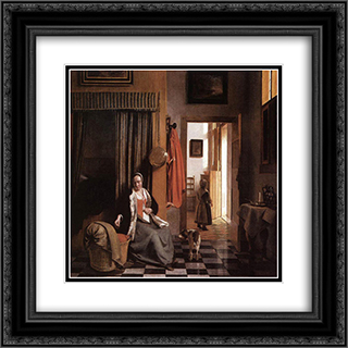 Mother Lacing Her Bodice beside a Cradle 20x20 Black or Gold Ornate Framed and Double Matted Art Print by Pieter de Hooch
