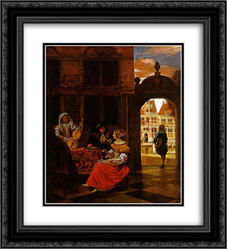 Musical Party in a Courtyard 20x22 Black or Gold Ornate Framed and Double Matted Art Print by Pieter de Hooch