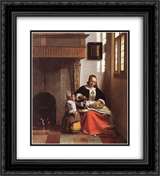 Woman Peeling Apples 20x22 Black or Gold Ornate Framed and Double Matted Art Print by Pieter de Hooch
