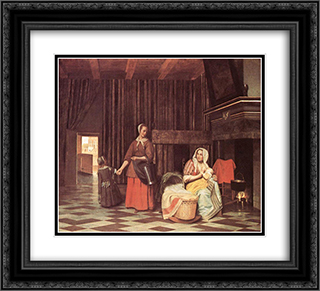 Suckling Mother and Maid 22x20 Black or Gold Ornate Framed and Double Matted Art Print by Pieter de Hooch