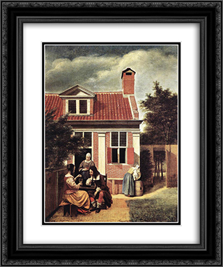 Village House 20x24 Black or Gold Ornate Framed and Double Matted Art Print by Pieter de Hooch