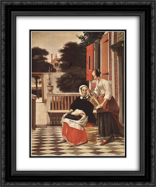 Woman and Maid 20x24 Black or Gold Ornate Framed and Double Matted Art Print by Pieter de Hooch