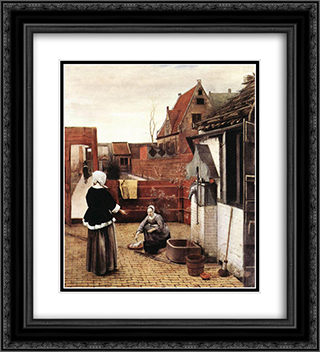 Woman and Maid in a Courtyard 20x22 Black or Gold Ornate Framed and Double Matted Art Print by Pieter de Hooch