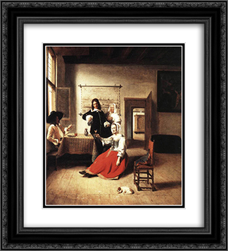 Young Woman Drinking 20x22 Black or Gold Ornate Framed and Double Matted Art Print by Pieter de Hooch