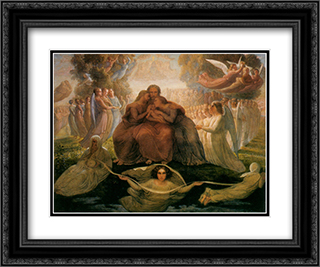 Le Poeme de l'ame ' Generation divine 24x20 Black or Gold Ornate Framed and Double Matted Art Print by Anne Francois Louis Janmot