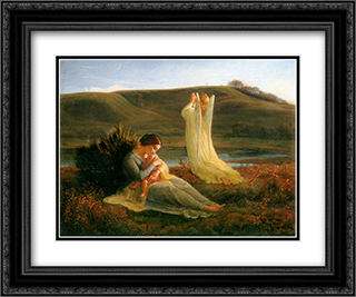 Le Poeme de l'ame ' L'Ange et la mere 24x20 Black or Gold Ornate Framed and Double Matted Art Print by Anne Francois Louis Janmot