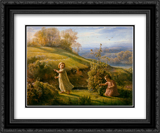 Le Poeme de l'ame ' Le Printemps 24x20 Black or Gold Ornate Framed and Double Matted Art Print by Anne Francois Louis Janmot
