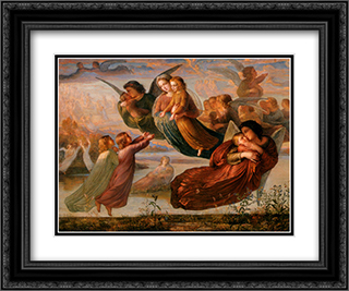 Le Poeme de l'ame ' Souvenirs du ciel 24x20 Black or Gold Ornate Framed and Double Matted Art Print by Anne Francois Louis Janmot