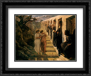 Le Poeme de l'ame ' Le Mauvais sentier 24x20 Black or Gold Ornate Framed and Double Matted Art Print by Anne Francois Louis Janmot