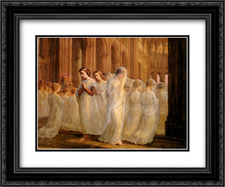 Le Poeme de l'ame ' Premiere communion 24x20 Black or Gold Ornate Framed and Double Matted Art Print by Anne Francois Louis Janmot