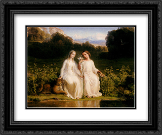 Le Poeme de l'ame ' Virginitas 24x20 Black or Gold Ornate Framed and Double Matted Art Print by Anne Francois Louis Janmot