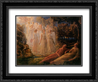 Le Poeme de l'ame ' L'echelle d'or 24x20 Black or Gold Ornate Framed and Double Matted Art Print by Anne Francois Louis Janmot