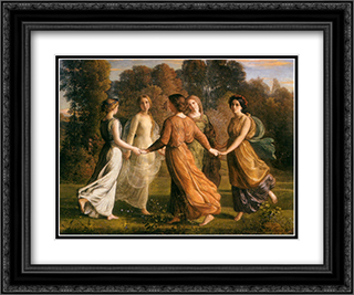 Le Poeme de l'ame ' Rayons du soleil 24x20 Black or Gold Ornate Framed and Double Matted Art Print by Anne Francois Louis Janmot