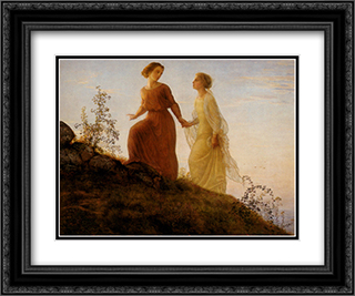 Le Poeme de l'ame ' Sur la montagne 24x20 Black or Gold Ornate Framed and Double Matted Art Print by Anne Francois Louis Janmot