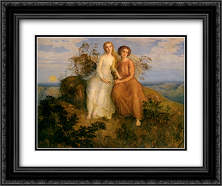 Le Poeme de l'ame ' Un Soir 24x20 Black or Gold Ornate Framed and Double Matted Art Print by Anne Francois Louis Janmot