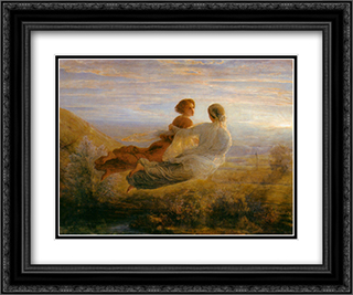 Le Poeme de l'ame ' Le Vol de l'ame 24x20 Black or Gold Ornate Framed and Double Matted Art Print by Anne Francois Louis Janmot