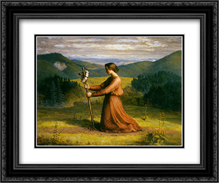 Le Poeme de l'ame ' Realite 24x20 Black or Gold Ornate Framed and Double Matted Art Print by Anne Francois Louis Janmot