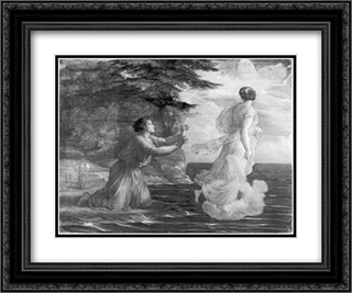 Le Poeme de l'ame ' Adieu 24x20 Black or Gold Ornate Framed and Double Matted Art Print by Anne Francois Louis Janmot