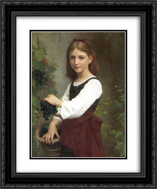 Young Girl Holding a Basket of Grapes 20x24 Black or Gold Ornate Framed and Double Matted Art Print by Elizabeth Jane Gardner Bouguereau