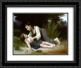 L'imprudente 24x20 Black or Gold Ornate Framed and Double Matted Art Print by Elizabeth Jane Gardner Bouguereau