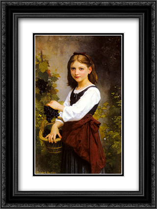 A Young Girl Holding a Basket of Grapes 18x24 Black or Gold Ornate Framed and Double Matted Art Print by Elizabeth Jane Gardner Bouguereau