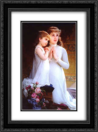 Two Girls Praying 18x24 Black or Gold Ornate Framed and Double Matted Art Print by Emile Munier