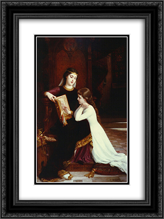 The Reading Lesson 18x24 Black or Gold Ornate Framed and Double Matted Art Print by Emile Munier