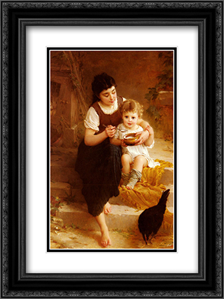 La Grande Soeur 18x24 Black or Gold Ornate Framed and Double Matted Art Print by Emile Munier