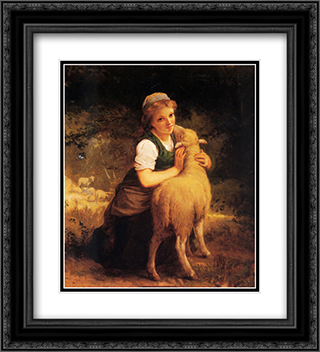 Young Girl with Lamb 20x22 Black or Gold Ornate Framed and Double Matted Art Print by Emile Munier