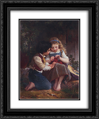 A Special Moment 20x24 Black or Gold Ornate Framed and Double Matted Art Print by Emile Munier