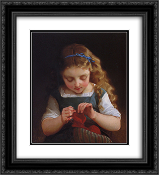 A Careful Stitch 20x22 Black or Gold Ornate Framed and Double Matted Art Print by Emile Munier