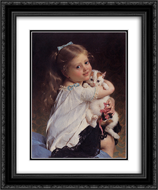 Her Best Friend 20x24 Black or Gold Ornate Framed and Double Matted Art Print by Emile Munier